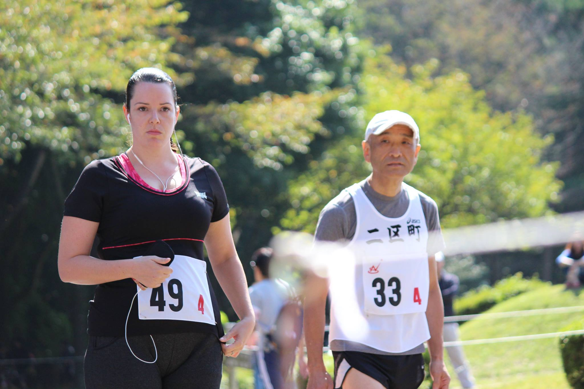 Pulling a very serious face before the 3km Ekiden