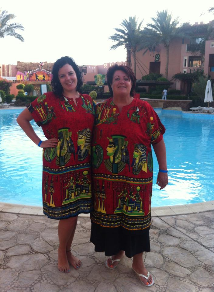 Me and my Mum in our matching Egyptian print dresses bought from the gift shop.