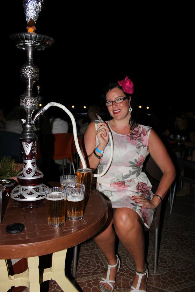 Enjoying shisha on the rooftop bar