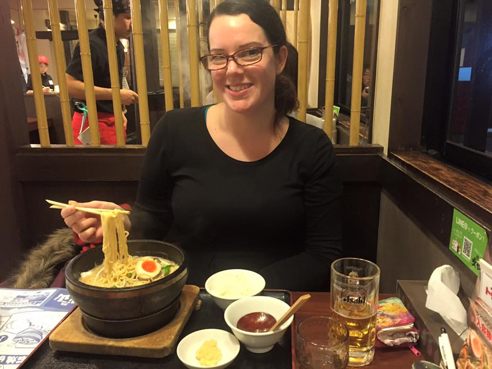 Enjoying a massive bowl of Ramen!