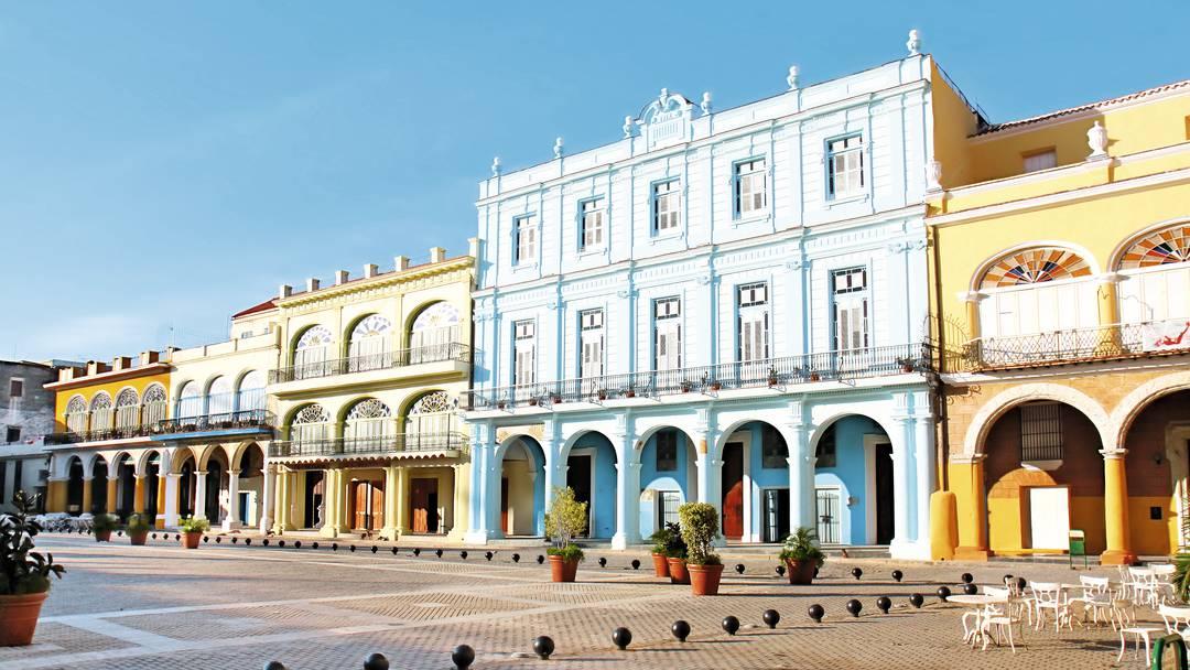 Bright coloured buildings in Cuba