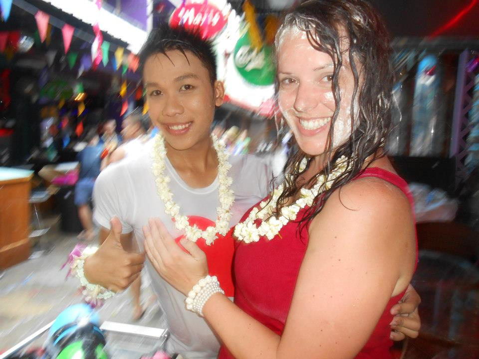 Soaked, covered in clay and with my new Thai friend who wears balloons down his top, because, why not?
